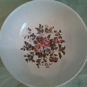 Vintage China Wedgwood Conway Edme England English Floral Roses Flowers Pattern Double Handle Soup Bowl