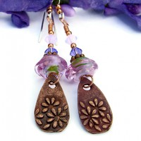 Copper Daisy Flower and Pink Lampwork Earrings, Swarovski Handmade Dangle Jewelry