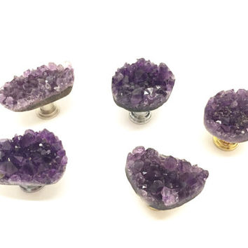 Geode Drawer Pull Dark Amethyst Knob Amethyst Drawer Pull/ February Birthstone