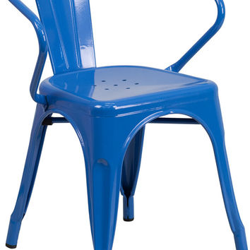Tolix Style Blue Metal Indoor-Outdoor Chair with Arms