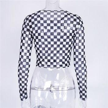 Checkerboard Long Sleeve Sheer Top