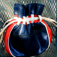 Vintage Cool 1960's Purse, Navy and Red Vinyl Leather Purse, Drawstring Bag, Bowling Bag Style Purse.