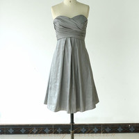 Grey Bridesmaid Dress,Bridal Party Dresses Teffeta A line Knee Length