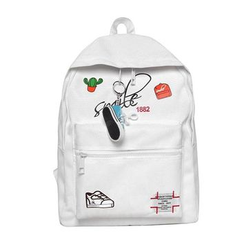 School Backpack trendy New 2018 Women Printing Canvas Backpack School Bag For Teenagers Large Capacity Backpacks For Girl AT_54_4