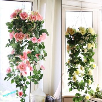 2016 Artificial Fake Silk Rose Flower Ivy Vine Hanging Garland Wedding Decor