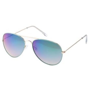 Mint Mirrored Aviator Sunglasses by Charlotte Russe