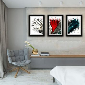 Set of 3 Abstract Home Decor, Blue red and White, Finished Artwork Paper Print, Set of 3 Gift, Gift for Christmas, Office Decor, Home Art