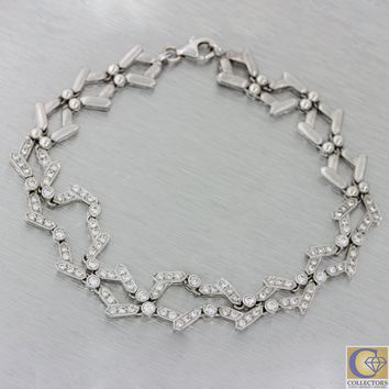 Platinum 1.90ctw Diamond Zig Zag 10mm Wide Wedding Bridal Tennis Bracelet J8