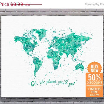 Oh The Places You'll Go World Map Art Travel Quote Print Green Art Print Watercolor Printable Nursery Wall Decor Instant Download Art
