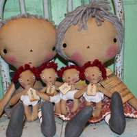 Mother's Day gifts - grandparents Raggedy Ann and Andy set with four grandchildren