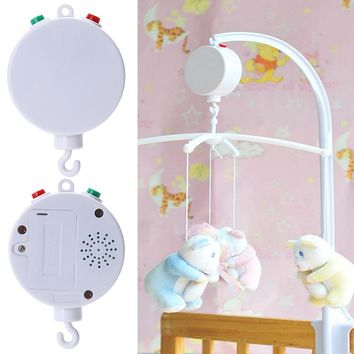 Baby Toys White 35 Song Rotary Baby Mobile Crib Bed Baby Toys Clockwork Movement Music with Animal Rattles Cartoon Crib