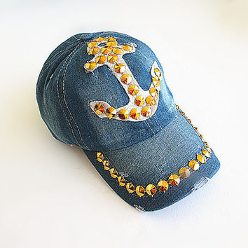 Anchor Baseball Cap-Unisex Cap-Baseball Cap-Fashion Cap-Steam Punk Cap-Denim Cap.