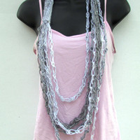 Chain Scarf, Infinity Scarf, Wool Necklace, Sequined Gray and White Necklace Scarf, Cowl