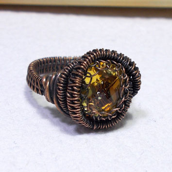 Citrine Oval Copper Ring, Rustic Wire Wrapped Ring