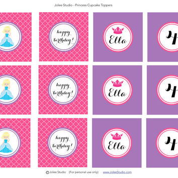 Princess Birthday Party Printable Personalized Cupcake Toppers
