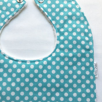Baby Bib - Modern Baby Bib - Aqua and White Polka Dot Baby Bib - Gender Neutral Baby Bib - White Minky Fabric - Handmade Baby