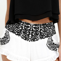 Festival Feeling Black and Ivory Embroidered Shorts