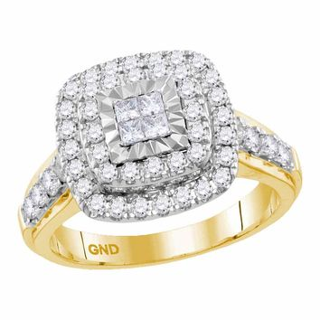 14kt Yellow Gold Womens Princess Diamond Square Cluster Bridal Wedding Engagement Ring 1.00 Cttw