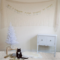 All I Want for XMas Is You - ombre glitter banner garland, holiday, party decor, photo prop, christmas sign, mariah carey