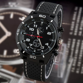 Men casual fashion digital sports watches military watches leather strap