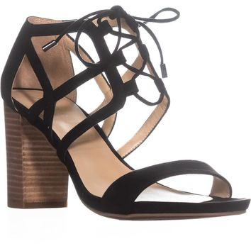 Franco Sarto Jewel Lace-up Heeled Sandals, Black, 10 US / 40 EU