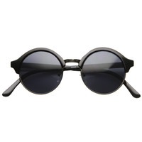 Dapper Half Frame Circle Vintage Steampunk Sunglasses 8583