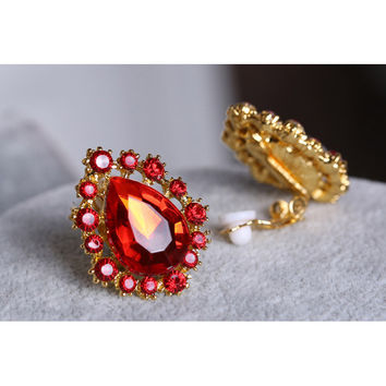 Fashion Trendy Red White Clear Crystal Clip on Earrings Ear Cuffs Gold Plated Kaffa Earring Ear Clip Without Puncture EH006