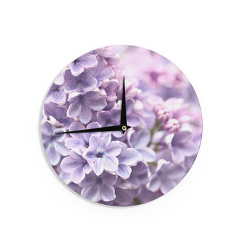 "Sylvia Cook ""Lilac"" Purple Flowers Wall Clock"