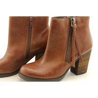 Marc Fisher Slant Womens Leather Booties Shoes