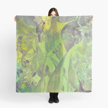 'flowers pattern green #flowers #flora #pattern' Scarf by JBJart