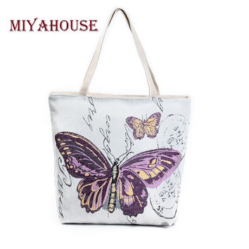 Miyahouse Butterfly Printed Shoulder Bag Lady Large Capacity Casual Tote Bags Women Daily Use Shopping Bag Female Canvas Handbag