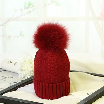 YY001 Winter Twist Women Warm Real Bobble Fur Pom Pom Cashmere Wool Knitted Hat Rabbit Blend Knitted Ski Beanies Skullies Caps