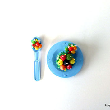 Vintage Fruit Salad Brooch and Earring Set 1950s Made in Hong Kong Pin-Up Accessories Estate Jewelry