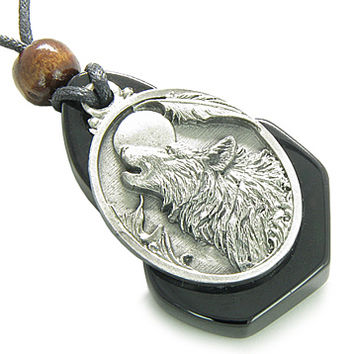 Magic Howling Wolf Head Unique Black Onyx Gemstone Spiritual Protection Amulet Pendant Necklace