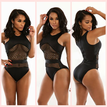 Black Net Accent Monokini