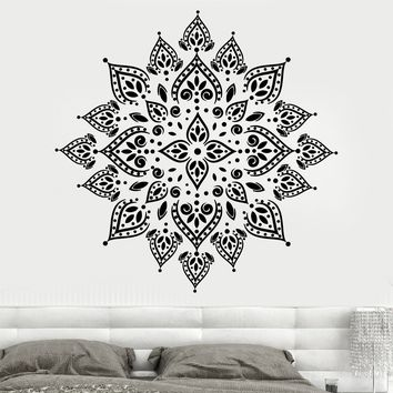 Vinyl Wall Decal Mandala Yoga Meditation Hinduism Lotus Stickers Unique Gift (705ig)