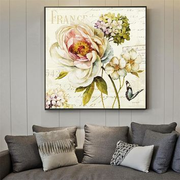 Canvas Prints Paris Wall Art Retro Flowers Painting Wall Pictures for Living Room Vintage Poster Garden Decoration Home Poster