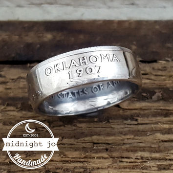 Oklahoma 90% Silver State Quarter Coin Ring