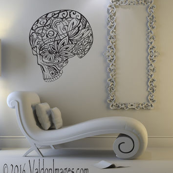 Zentangle sugar skull decal, skeleton wall decal, skull wall decal, zentangle wall decor, day of the dead wall decal, living room decal