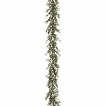 Mini Artificial Holiday Green Leaf Garland with Burgundy Berries - 6' Long