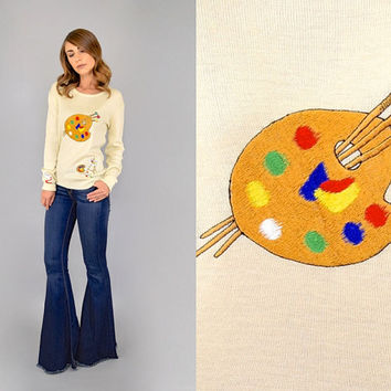 60's ARTIST'S PALETTE Knit Sweater Pullover
