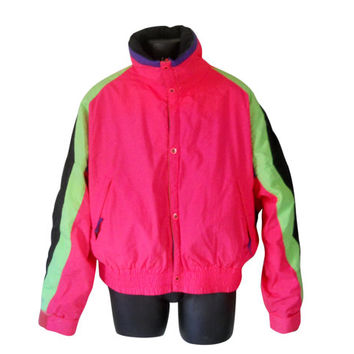 Men Ski Jacket 80s Ski Jacket Men Winter Jacket Men Winter Coat 80s Neon Jacket Hot Pink Jacket Retro Ski Jacket Puffy Jacket Puffy Coat