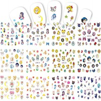 12 Designs Nails New Beauty Girl Cartoon DIY Tattoos for Nail Art Sticker Decals Water Transfer Nail Wraps Tips BN457-468