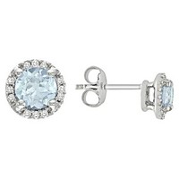 1.13 CT.T.W Blue Topaz and Diamond Accent Stud Earrings in Sterling Silver(I3)