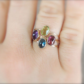 Amethyst Gold Ring, Faceted Gemstone Ring, Rose Gold Ring, Yellow Gold Ring, Dainty Ring, Thin Gold Ring, Februar Birthstone Ring, B-day
