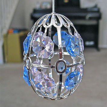 Swarovski Crystal Prisms Oval Ornament made with 12 Swarovski Octagon Prisms, 3""