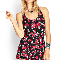 FOREVER 21 Floral Crochet-Back Romper Black/Red
