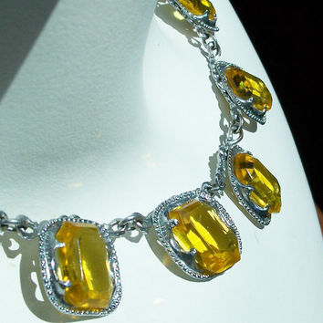 Art Deco Open Back Crystal Necklace - Canary Yellow - Chrome - Collar Necklace - Lemon Citrine - Yellow Crystal - Vintage - Deco - Choker