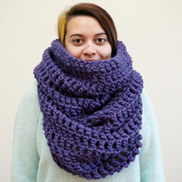 oversized scarf, oversized cowl, hood scarf, crochet hood, purple cowl, wool cowl, chunky scarf, crochet cowl / THE GWENDOLYN / Velvet