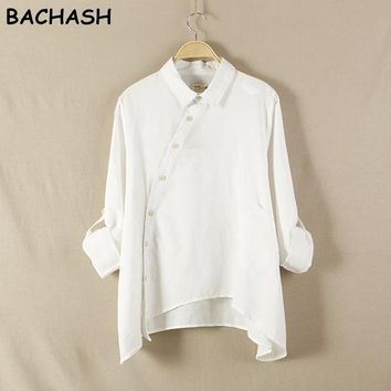 Spring New Women Shirt Cotton Linen Button White Blue Floral Turn-down Collar Irregular Loose Blouse